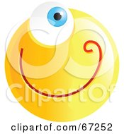 Royalty Free RF Clipart Illustration Of A Yellow Cyclops Emoticon Face