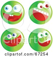 Royalty Free RF Clipart Illustration Of A Digital Collage Of Excited Green Emoticon Faces by Prawny