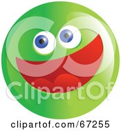 Royalty Free RF Clipart Illustration Of An Excited Green Emoticon Face Version 3