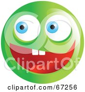 Royalty Free RF Clipart Illustration Of An Excited Green Emoticon Face Version 1