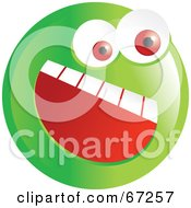 Royalty Free RF Clipart Illustration Of An Excited Green Emoticon Face Version 2