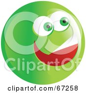 Royalty Free RF Clipart Illustration Of An Excited Green Emoticon Face Version 4