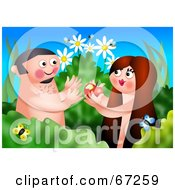 Royalty Free RF Clipart Illustration Of Adam And Eve Eating An Apple In The Garden Of Eden by Prawny