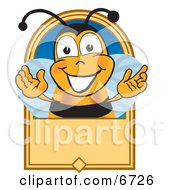 Clipart Picture Of A Bee Mascot Cartoon Character On A Blank Tan Label