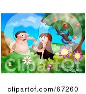 Adam And Eve Admiring Apples In The Garden Of Eden