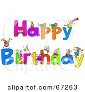 Royalty Free RF Clipart Illustration Of Children With HAPPY BIRTHDAY Text