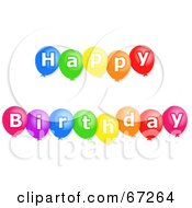 Royalty Free RF Clipart Illustration Of A Colorful Happy Birthday Balloons With White Text by Prawny