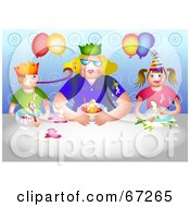 Royalty Free RF Clipart Illustration Of A Blond Woman And Two Children Eating Dessert At A Birthday Party by Prawny