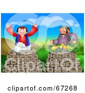 Royalty Free RF Clipart Illustration Of Cain And Abel With A Sheep And Fruit by Prawny