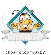 Bee Mascot Cartoon Character On A Blank White Label