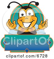 Clipart Picture Of A Bee Mascot Cartoon Character On A Blank Blue And Green Label