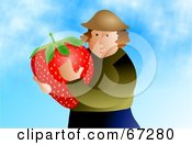 Royalty Free RF Clipart Illustration Of A Strawberry Farmer Holding A Giant Berry by Prawny