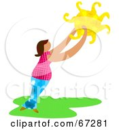 Royalty Free RF Clipart Illustration Of A Woman Reaching Up To Hold The Sun