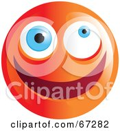 Royalty Free RF Clipart Illustration Of A Zany Orange Emoticon Face Version 1