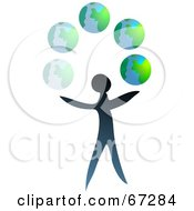 Blue Person Juggling Globes