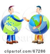 Royalty Free RF Clipart Illustration Of Globe Businessmen Shaking Hands