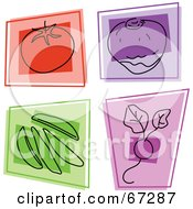 Royalty Free RF Clipart Illustration Of A Digital Collage Of Colorful Square Tomato Rutabaga Peas And Radish Icons by Prawny