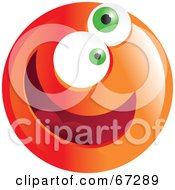 Royalty Free RF Clipart Illustration Of A Zany Orange Emoticon Face Version 2