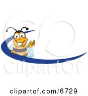 Clipart Picture Of A Bee Mascot Cartoon Character Logo With A Blue Dash by Toons4Biz #COLLC6729-0015
