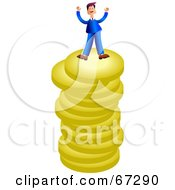 Royalty Free RF Clipart Illustration Of A Rich Businessman Celebrating On Top Of A Stack Of Coins