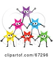 Royalty Free RF Clipart Illustration Of A Group Of Colorful Stars Forming A Pyramid Version 1