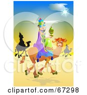 Royalty Free RF Clipart Illustration Of The Three Kings Trekking Through The Desert