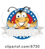 Clipart Picture Of A Bee Mascot Cartoon Character With Stars On A Blank Label