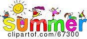 Royalty Free RF Clipart Illustration Of Children With SUMMER Text