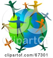 Royalty Free RF Clipart Illustration Of Colorful People Standing On The Globe