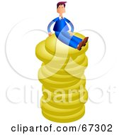 Royalty Free RF Clipart Illustration Of A Rich Businessman Sitting On Top Of A Stack Of Coins