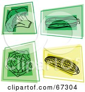 Royalty Free RF Clipart Illustration Of A Digital Collage Of Colorful Square Broccoli Squash Lettuce And Corn Icons