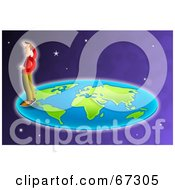 Royalty Free RF Clipart Illustration Of A Man Standing At The Edge Of A Flat World