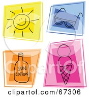 Royalty Free RF Clipart Illustration Of A Digital Collage Of Colorful Summer Squares