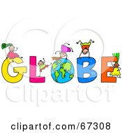 Children Playing On GLOBE Text