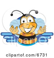 Clipart Picture Of A Bee Mascot Cartoon Character Logo