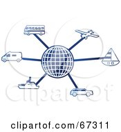 Royalty Free RF Clipart Illustration Of A Blue Molecule Transport Globe