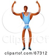 Royalty Free RF Clipart Illustration Of A Strong Champion Athlete In A Blue Uniform