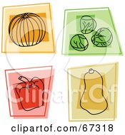 Royalty Free RF Clipart Illustration Of A Digital Collage Of Colorful Square Pumpkin Brussels Sprouts Bell Pepper And Squash Icons by Prawny