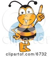 Bee Mascot Cartoon Character Pointing Upwards