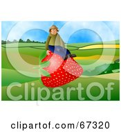 Royalty Free RF Clipart Illustration Of A Strawberry Farmer Sitting On A Giant Berry by Prawny