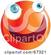 Royalty Free RF Clipart Illustration Of A Zany Orange Emoticon Face Version 4