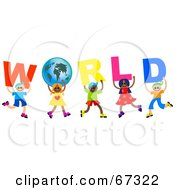 Kids Carrying WORLD Text