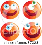 Royalty Free RF Clipart Illustration Of A Digital Collage Of Zany Orange Emoticon Faces