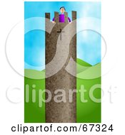 Royalty Free RF Clipart Illustration Of A Man Standing At The Top Of A Strong Tower