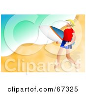 Royalty Free RF Clipart Illustration Of A Male Surfer Guy Happily Walking On A Beach by Prawny