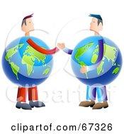 Royalty Free RF Clipart Illustration Of Globe Business Men Shaking Hands