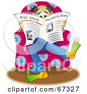 Royalty Free RF Clipart Illustration Of A Man Sitting In A Pink Chair And Reading The News by Prawny