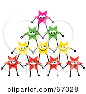Royalty Free RF Clipart Illustration Of A Group Of Colorful Stars Forming A Pyramid Version 2