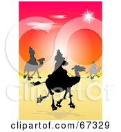 Royalty Free RF Clipart Illustration Of The Silhouetted Three Kings Trekking Through The Desert