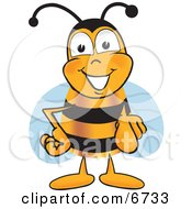 Clipart Picture Of A Bee Mascot Cartoon Character Pointing At The Viewer by Toons4Biz